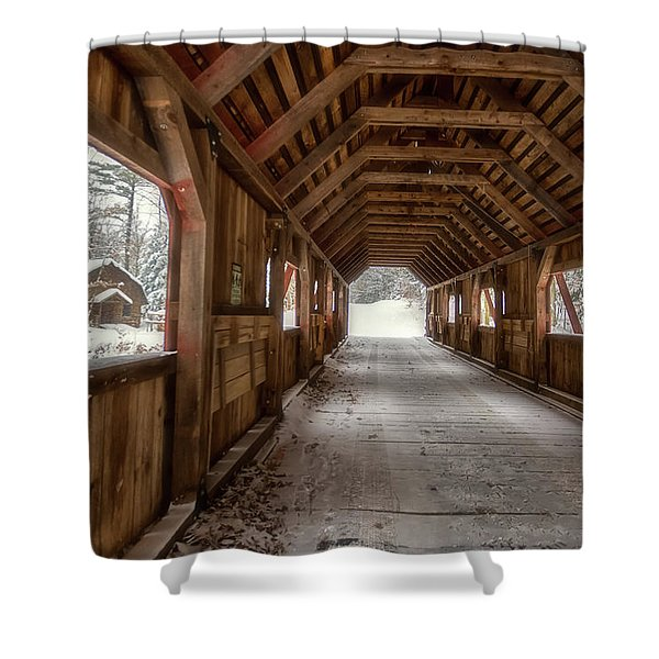 Shower Curtain featuring the photograph Loon Song Covered Bridge 1 by Heather Kenward