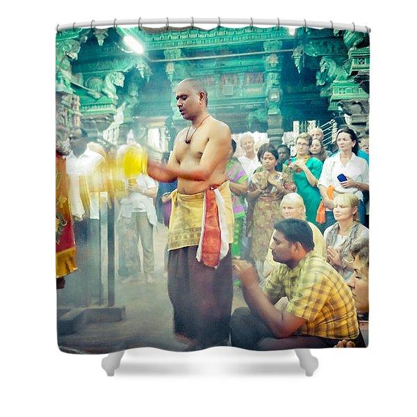 Shower Curtain featuring the photograph Lord Shiva Meenakshi Temple Madurai India by Raimond Klavins