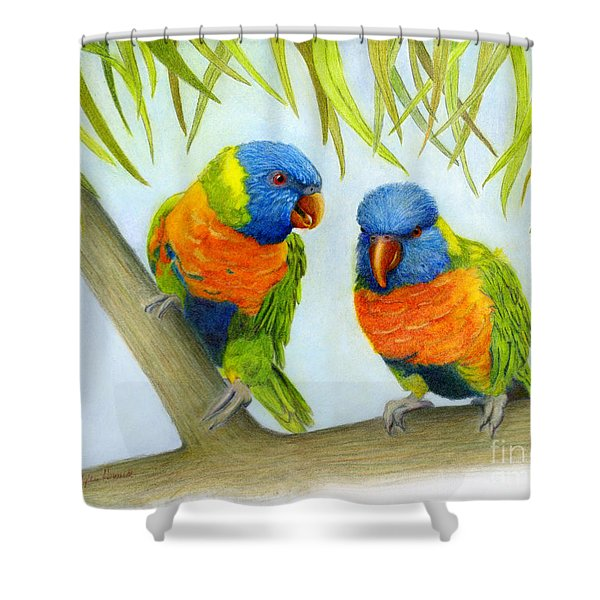 Lorikeet Pair Shower Curtain