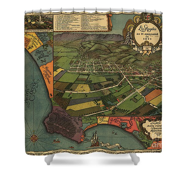 Los Angeles As It Appeared In 1871 Shower Curtain