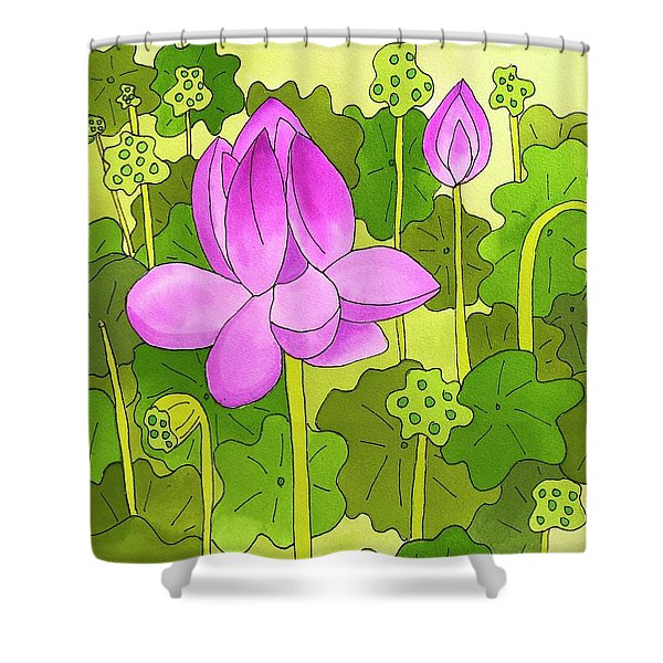 Lotus And Waterlilies Shower Curtain