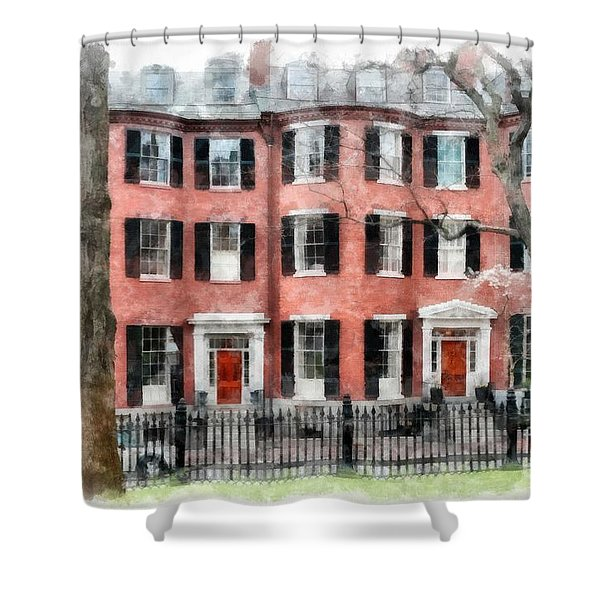 Shower Curtain featuring the photograph Louisburg Square Beacon Hill Boston by Edward Fielding