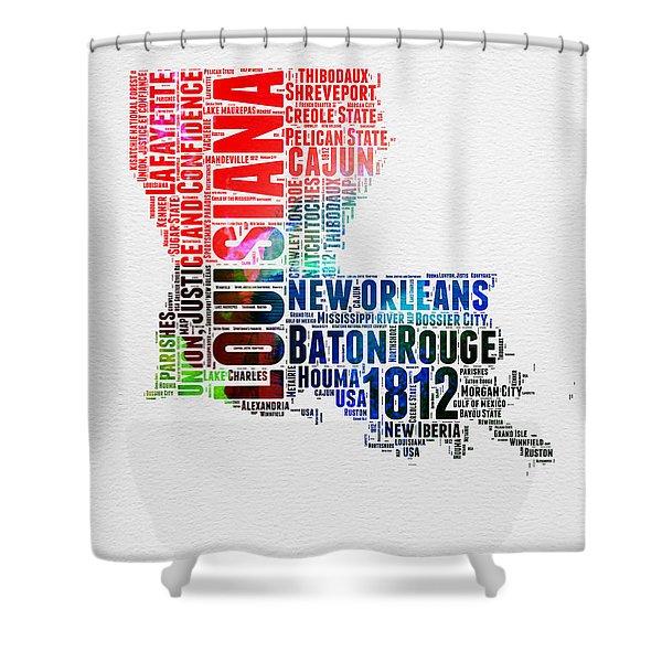 Louisiana Watercolor Word Cloud Map  Shower Curtain
