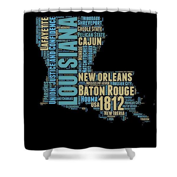 Louisiana Word Cloud Map 1 Shower Curtain