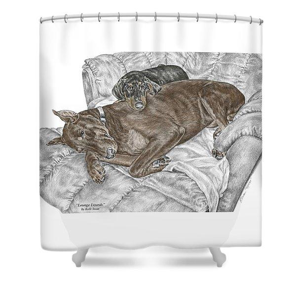 Lounge Lizards - Doberman Pinscher Puppy Print Color Tinted Shower Curtain