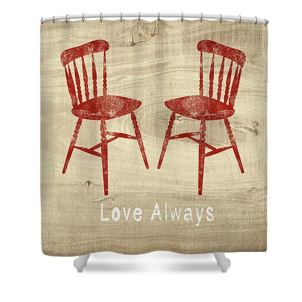 Love Always Red Chairs- Art By Linda Woods Shower Curtain