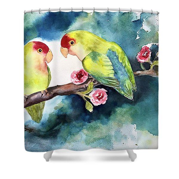 Love Birds On Branch Shower Curtain