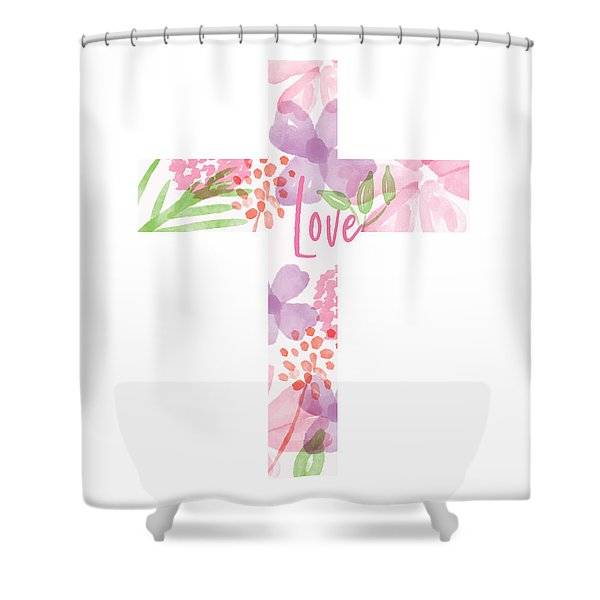 Love Floral Cross- Art By Linda Woods Shower Curtain