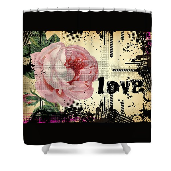 Shower Curtain featuring the digital art Love Grunge Rose by Robert G Kernodle