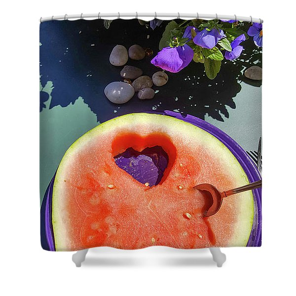 Love In Watermelon Shower Curtain
