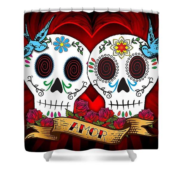 Love Skulls Shower Curtain