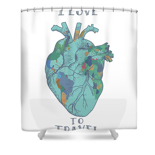 Love To Travel 3 Shower Curtain