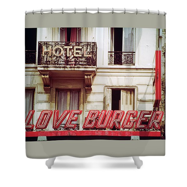 Loveburger Hotel Shower Curtain