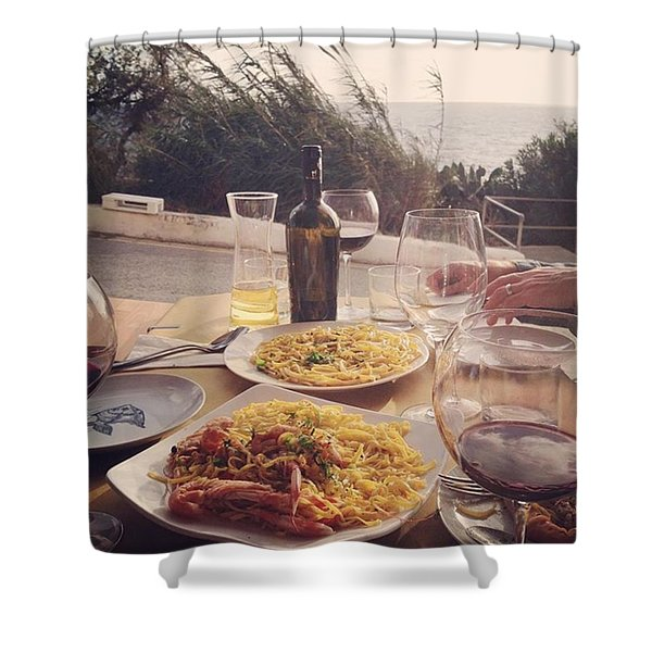 A Seaside Lunch Shower Curtain