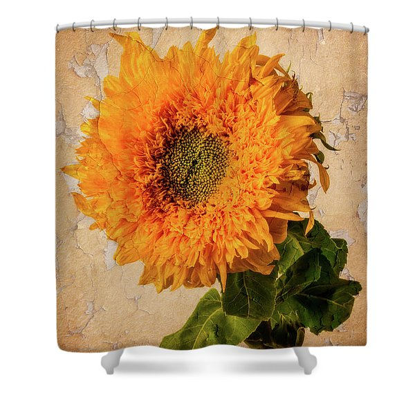 Lovely Textured Sunflower Shower Curtain