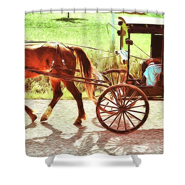 Lovers Red Pony Shower Curtain