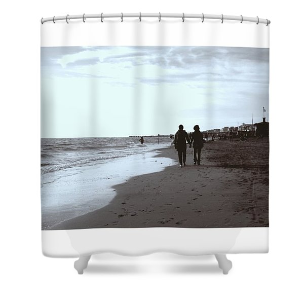 #lovers #walking On The #seashore In Shower Curtain