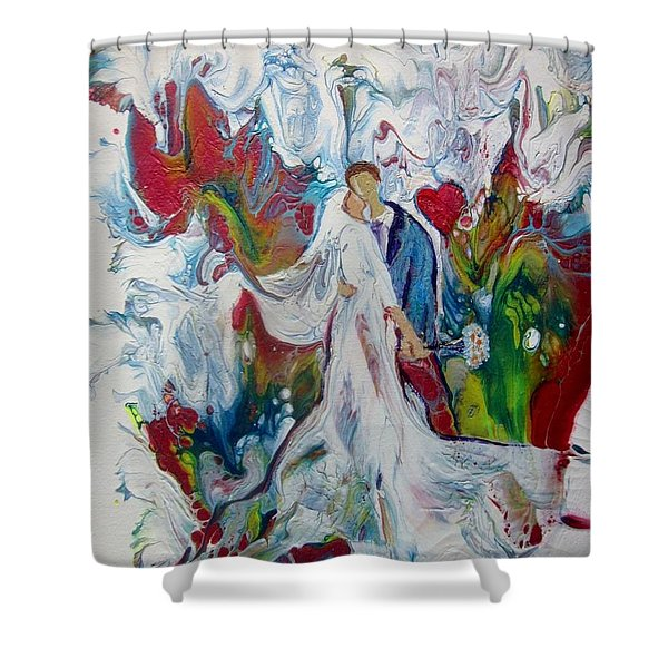 Shower Curtain featuring the painting Loving You With All My Heart by Deborah Nell