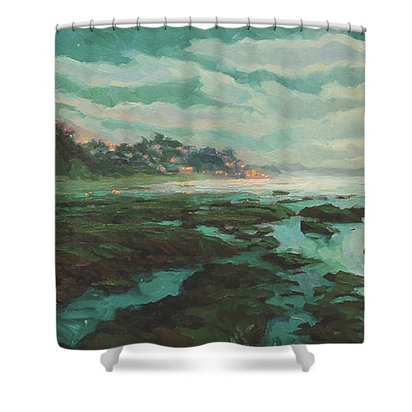 Low Tide At Moonlight Shower Curtain