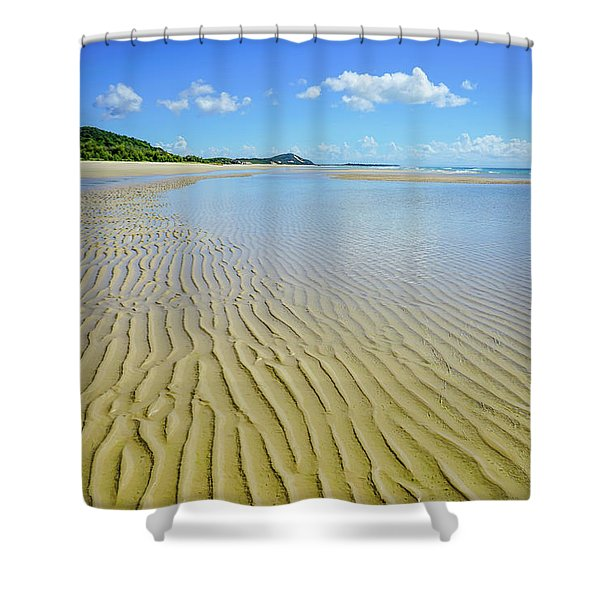Low Tide Beach Ripples Shower Curtain