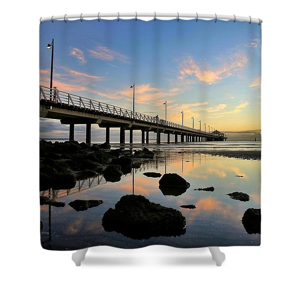 Low Tide Reflections At The Pier  Shower Curtain