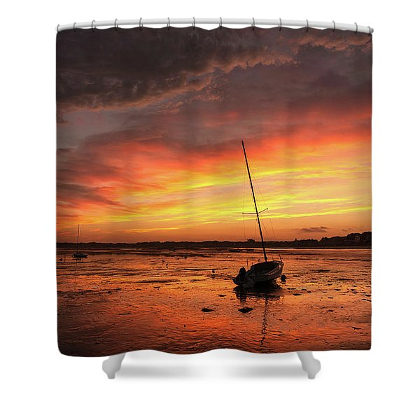 Low Tide Sunset Sailboats Shower Curtain