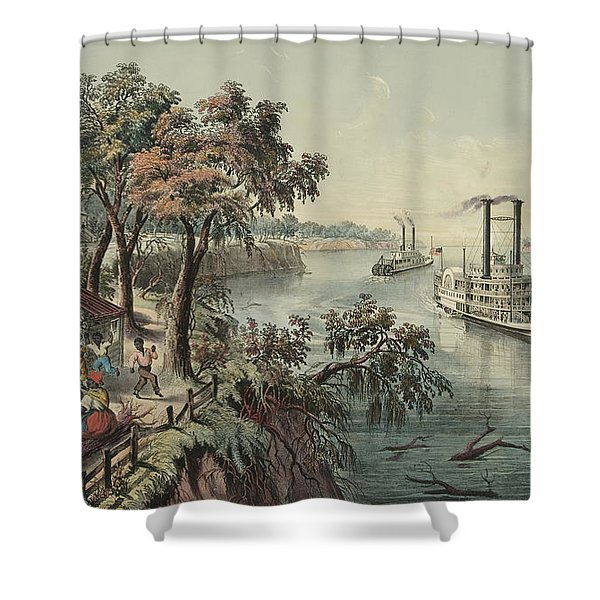 Low Water In The Mississippi, 1868  Shower Curtain