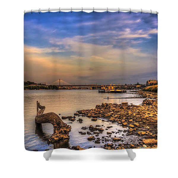 Low Water Vistula Riverscape In Warsaw Shower Curtain