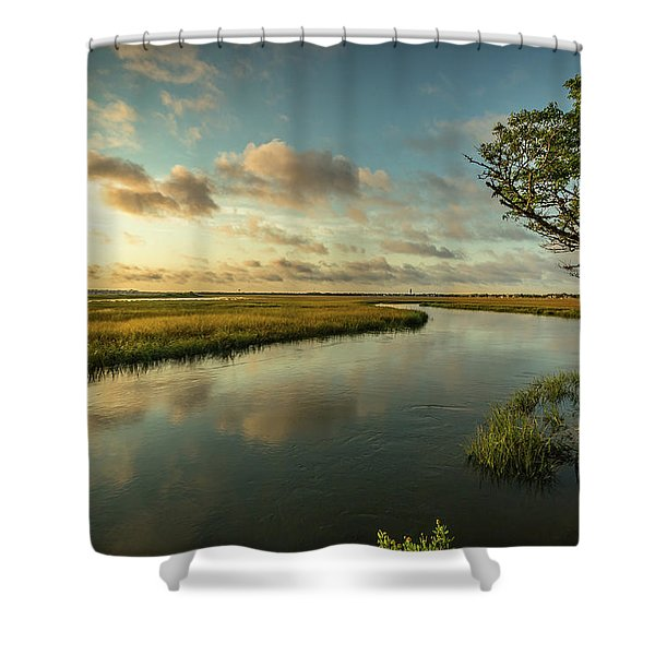 Pitt Street Bridge Creek Sunrise Shower Curtain