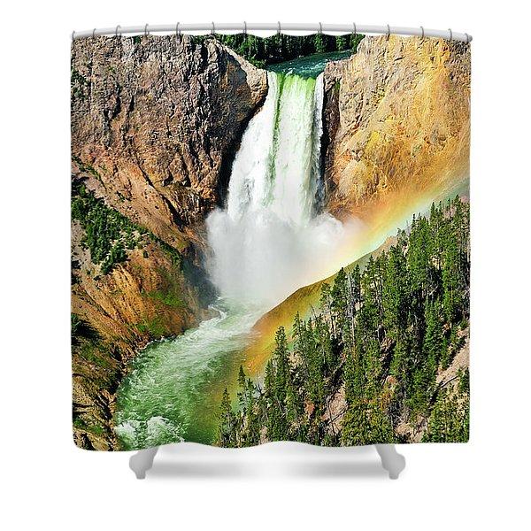 Lower Falls Rainbow Shower Curtain