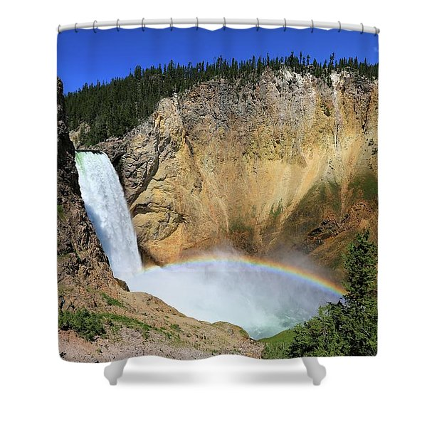 Lower Falls With A Rainbow Shower Curtain