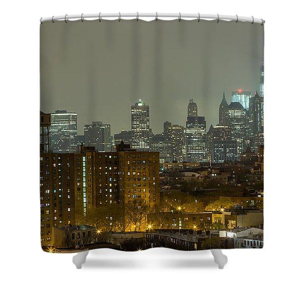 Lower Manhattan Cityscape Seen From Brooklyn Shower Curtain