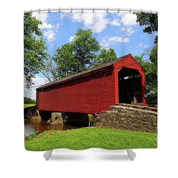 Loys Station Covered Bridge Frederick County Maryland Shower Curtain