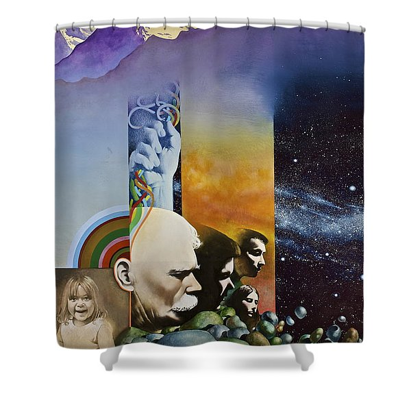 Shower Curtain featuring the painting Lucid Dimensions by Cliff Spohn