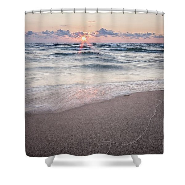 Ludington Beach Sunset Shower Curtain