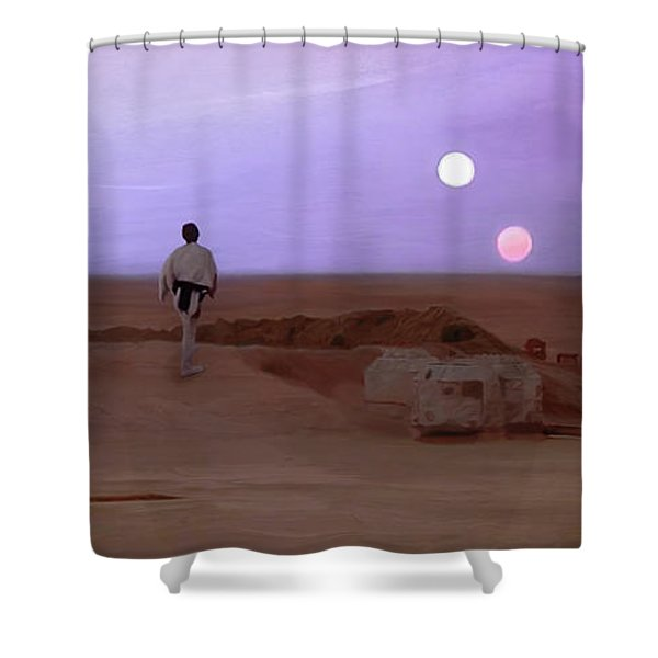 Luke Skywalker Tatooine Sunset Shower Curtain