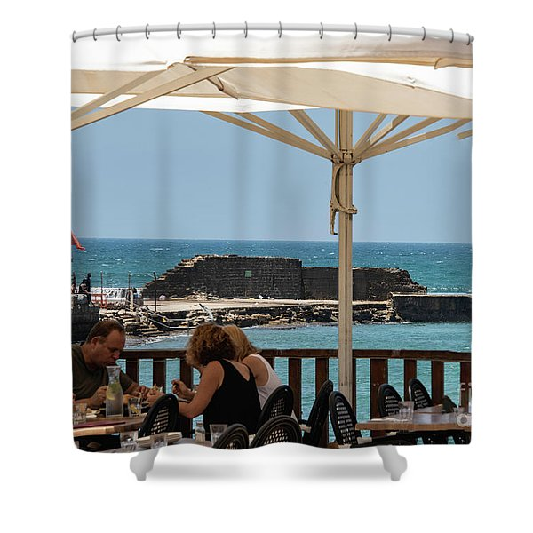 Shower Curtain featuring the photograph Lunch At The Mediterranean by Mae Wertz
