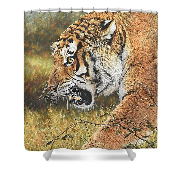 Shower Curtain featuring the painting Lunch Time by Alan M Hunt