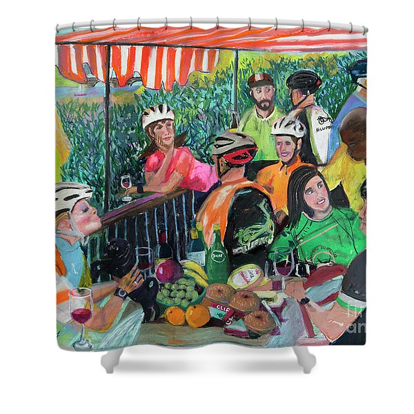 Pastel-luncheon Of The Cycling Party Shower Curtain