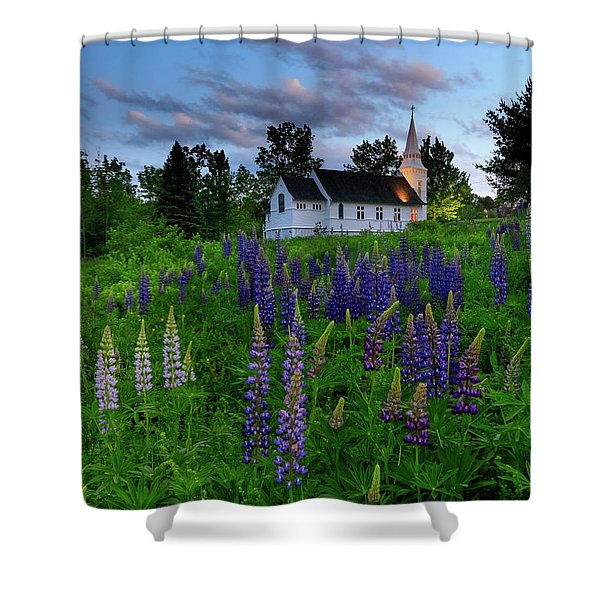 Lupines By The Church Shower Curtain