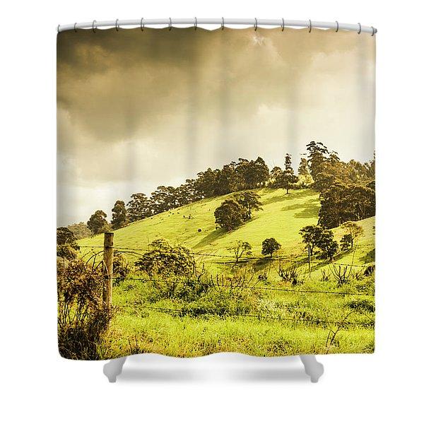 Lush Green Country Farmland Shower Curtain