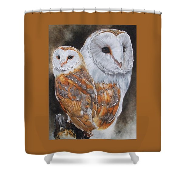 Shower Curtain featuring the mixed media Luster by Barbara Keith