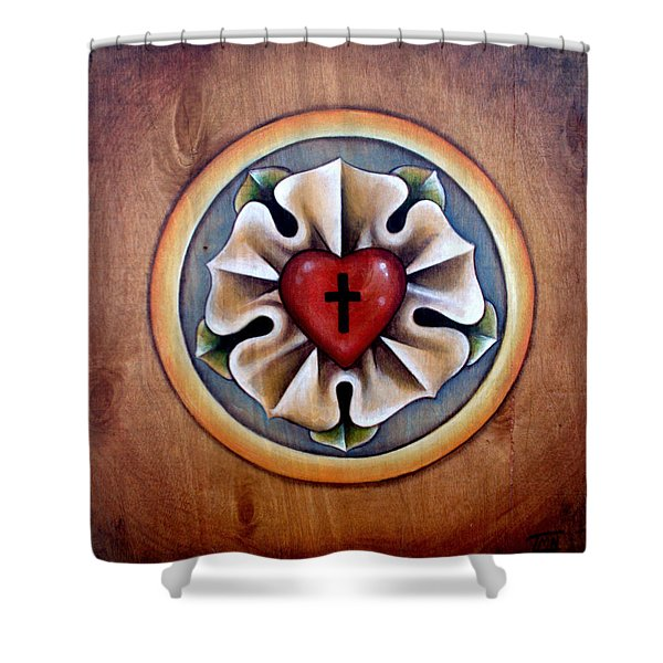 Luther's Rose - Natural Shower Curtain