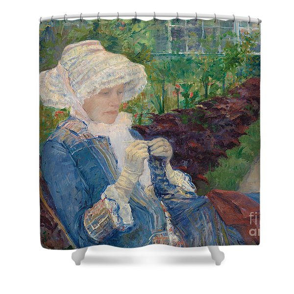 Lydia Crocheting In The Garden At Marly Shower Curtain