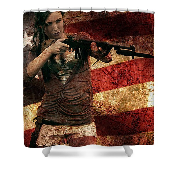 M1 Carbine On American Flag Shower Curtain