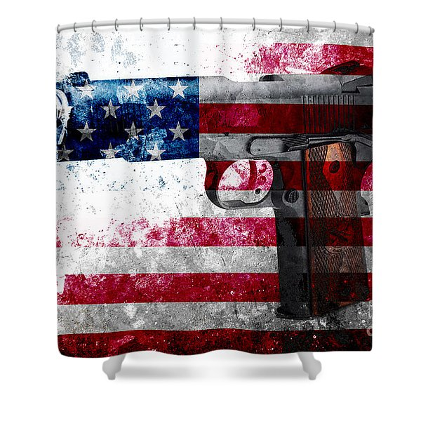 M1911 Colt 45 And American Flag On Distressed Metal Sheet Shower Curtain
