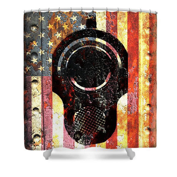 M1911 Colt 45 On Rusted American Flag Shower Curtain