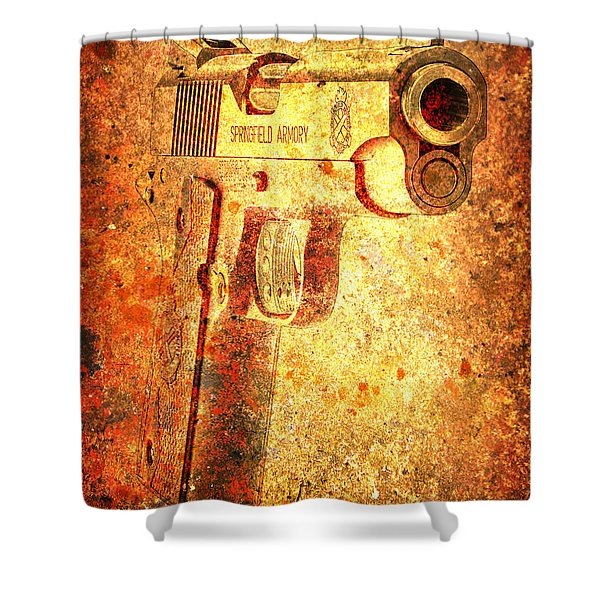 M1911 Muzzle On Rusted Background 3/4 View Shower Curtain
