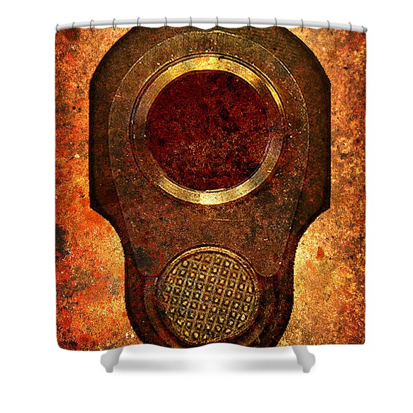 M1911 Muzzle On Rusted Background Shower Curtain