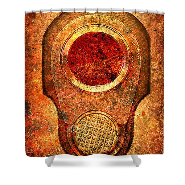 M1911 Muzzle On Rusted Background - With Red Filter Shower Curtain